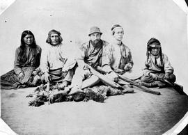 Indian guides, Dr. Walter B. Cheadle [middle with beard], and Viscount Milton, with Hudson's Bay Indians.