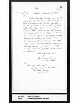 Amor De Cosmos to R.G. Tatlow: acknowledging receipt of his of 16 October 1880