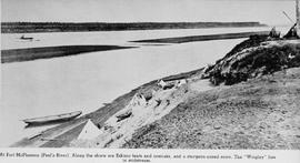 """At Fort McPherson (Peel's River).  Along the shore are Eskimo tents and comiaks, and a..."