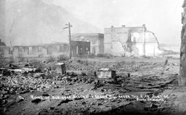 """Ruins of business blocks on Fernie BC after the fire of August 1, 1908""."