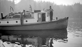 Forest Service; launch, Beatrice R.; on the Franklin River; surveyors Frank Swannell and A. Campb...