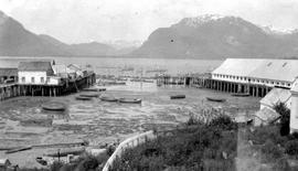 Port Essington; Frizzell's wharf and the Skeena Commercial Cannery.