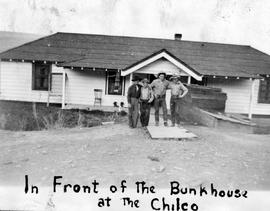 """In front of the bunkhouse at the Chilco""."