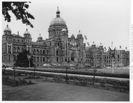 Parliament Buildings, Victoria, Decorated For Queen Elizabeth's Coronation.