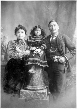 """Skookum"" Jim Mason with his wife and daughter; discovered gold in the Klondike."