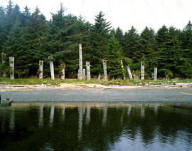 Totem Poles On Beach Anthony Island Queen Charlotte Island
