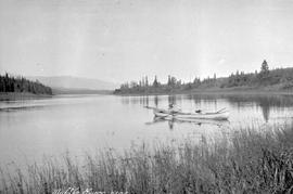 """MIddle River, 1909""; George Copley on the Middle River in a canoe."
