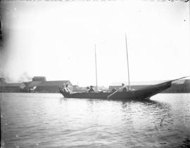 Indian Canoe With Masts In Victoria Harbour
