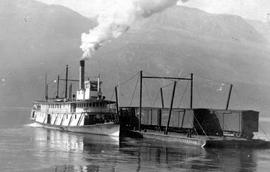 The SS Slocan Arriving At Silverton With A Rail Barge