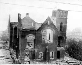 The aftermath of the fire at the New Westminster waterfront; the burned-out Baptist church.