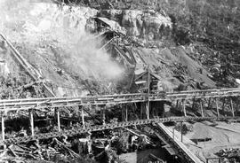Ocean Falls; building the flume from the Pacific Mills sawmill