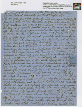 An account of the burning of the town of Barkerville in Cariboo, British Columbia on the 16th Sep...