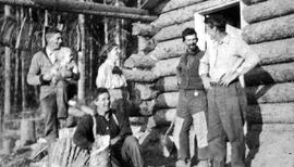 Frank Swannell's survey party at Ben Bodeker's cabin at Finlay Forks; George Copely sec...