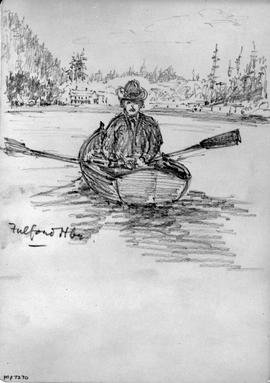 Fulford Hbr [Harbour] showing man in row boat.