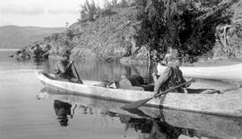 Price and Crawford in canoe.