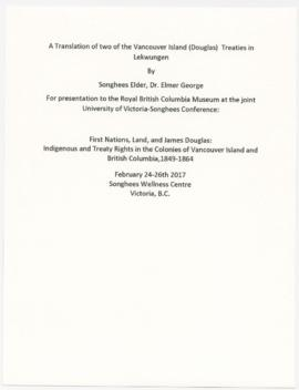 Translations of Vancouver Island treaties