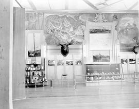 Golden Gate Exposition, Treasure Island, San Francisco; BC exhibit, mural of logging operation us...