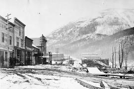 Kaslo; looking up Front Street from the water; photo taken after the big fire in the 1890s.