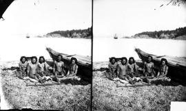 """Naked Indians at Nootka Sound""; five nude males seated on blankets next to canoe; HMS ..."