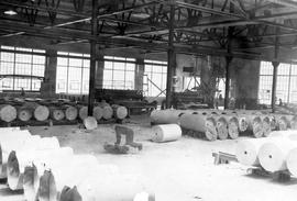 Ocean Falls pulp and paper mill; rolls of finished paper in the paper warehouse