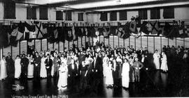 """Victoria High School Cadet Ball Apr 6th 1915""; honoured guests at front left, Mrs. You..."