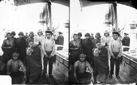 Indians on board HMS Boxer; from Maynard notes; 5 x 7 stereo wet plate; from Newcombe Collection,...
