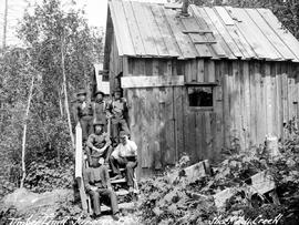 """Timber limit surveys 1903, shack at Hill Creek""."