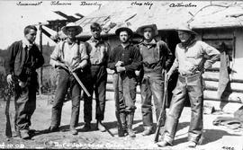 Frank Swannell, Johnson, Dave Hog, unidentified man, Charles Hog, and Anton Olsen in front of Joh...
