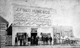 """J. Fred. Hume & Co.""; Revelstoke, or Farwell as it was called at the time."