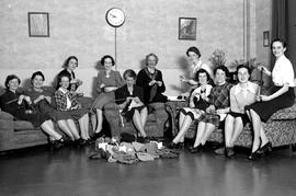 BC Telephone Co.; members of the war effort programme, knitters and their products.