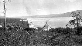 """Moberly Lake, looking east from Indian reserve at west end""; horses grazing and two te..."