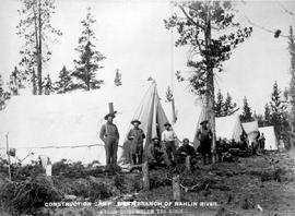 """Construction camp west branch of Nahlin River, Atlin-Quesnelle tel. line."""