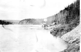 Prince George, sternwheeler Charlotte at the mouth of Fort George Canyon, looking down Cottonwood...