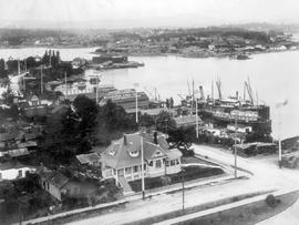 Victoria's inner harbour from the Legislative Buildings; Menzies Street at the bottom