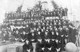 The officers and crew of HMCS Rainbow.