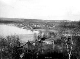 """Quesnel, BC""; looking at Quesnel from Red Bluff with Fernbrook Farm in the foreground."