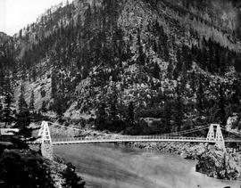 Alexandra suspension bridge across the Fraser River, built 1863; at Spuzzum, thirteen miles above Yale
