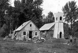 """Indian church and house Fort McLeod""; McLeod Lake; Pacific Great Eastern railway lands..."