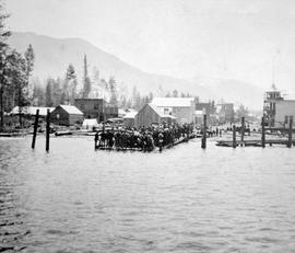 A large group at the Slocan Wharf.