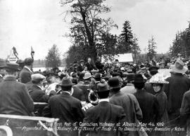 """Planting first post of Canadian Highway at Alberni""."