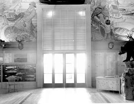 Golden Gate Exposition, Treasure Island, San Francisco; BC exhibit, mural of fisherman on left an...