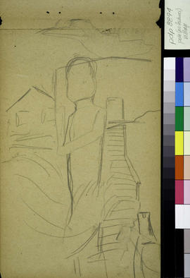Preliminary drawing, Welcome figure, housefront and stairs.