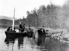Frank Swannell's surveyors at the site of a train [sic] wreck near Fort St. James, BC