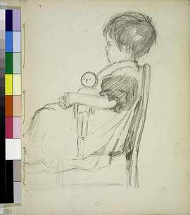 Little girl seated with doll.