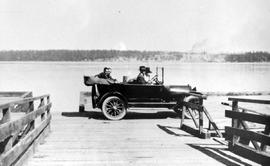 A 1914 Studebaker on Saanichton wharf opposite James Island in 1917