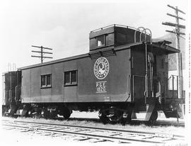 Caboose no. 1820, 3/4, closeup, excellent detail, plywood sides, Caribou herald, built by PGE, da...