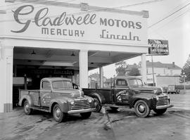 Bartlett and Sons Ltd. trucks at Gladwell Motors, southwest corner of Vancouver and Yates Street,...