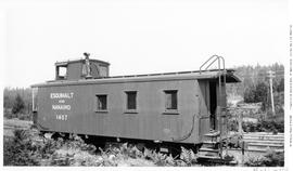 Esquimalt and Nanaimo [E & N] No. 1407 Caboose lettered for Esquimalt and Nanaimo; Wellington.