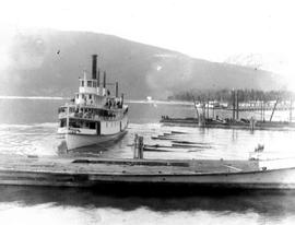 Launching the SS Rossland after refit at Nakusp.