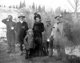 Hugh Bayliff in a group including Mrs. Bayliff and son Gabriel Thomas (Redstone).